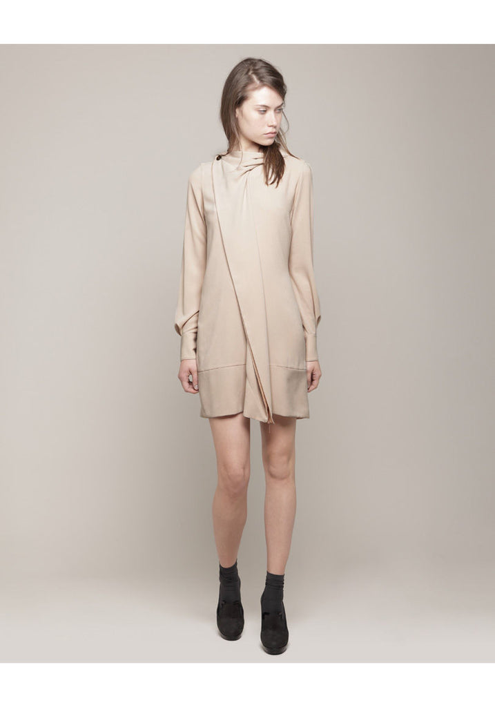 Drape Collar Crepe Dress