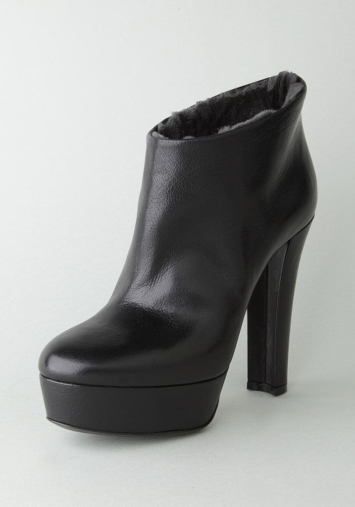 Fur Lined Ankle Boot Heel