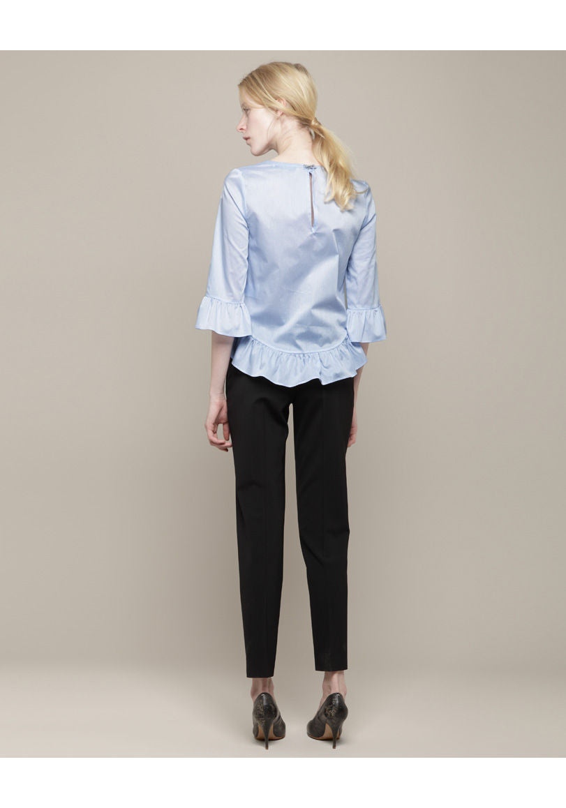 Ruffled Chambray Blouse