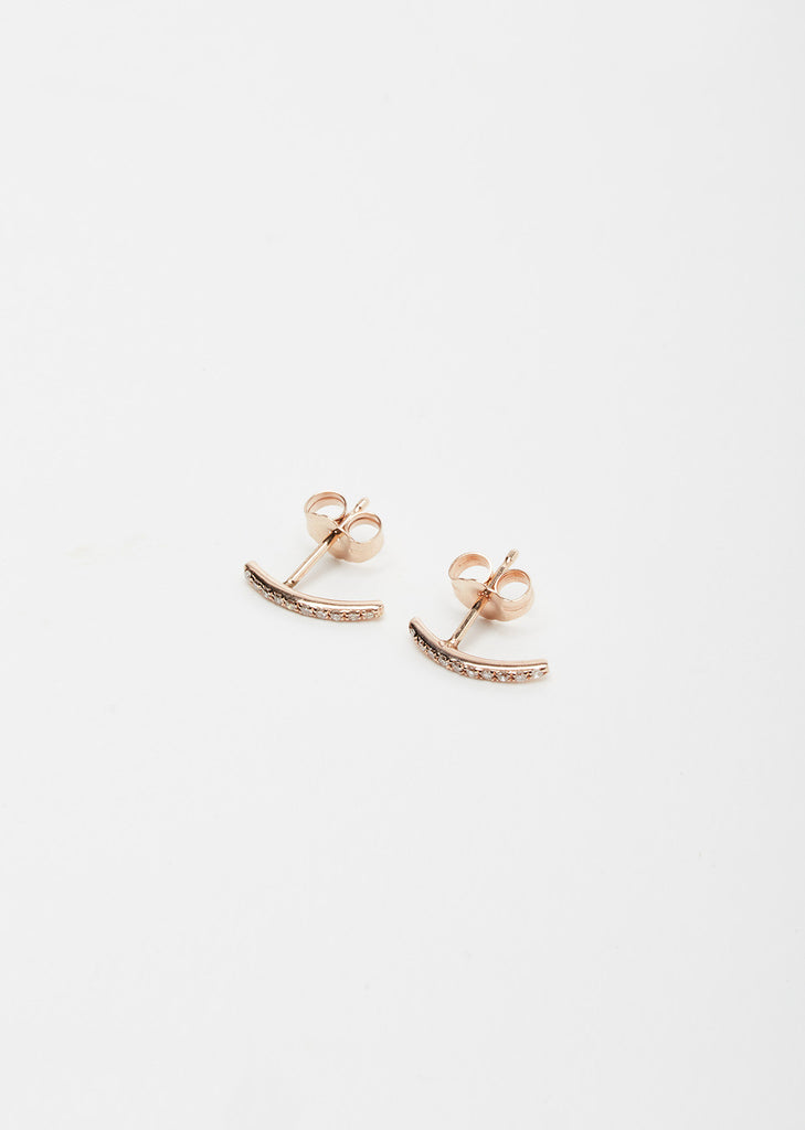 14K Rose Gold White Pave Mini Axis Earrings