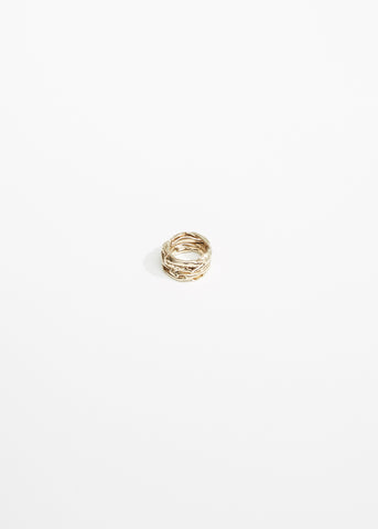 Hammered Rose Gold Ring Set