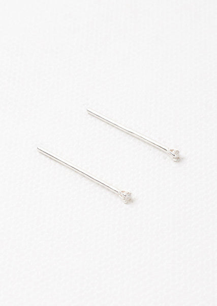 Julien David White Diamond Long Pierce Studs La Garconne