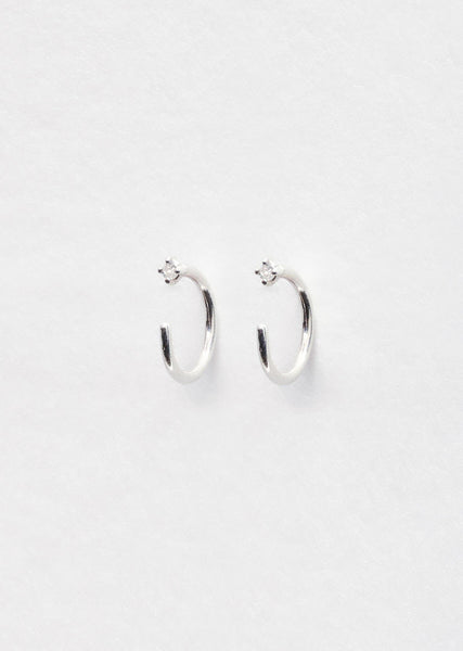 Julien David White Diamond Loop Earrings La Garconne