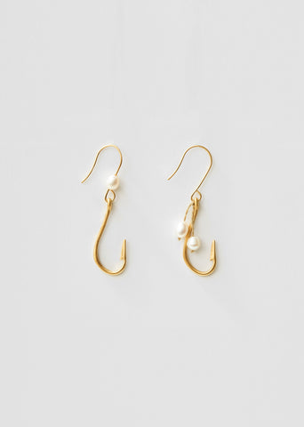 Gold Hook Earrings With Pearls
