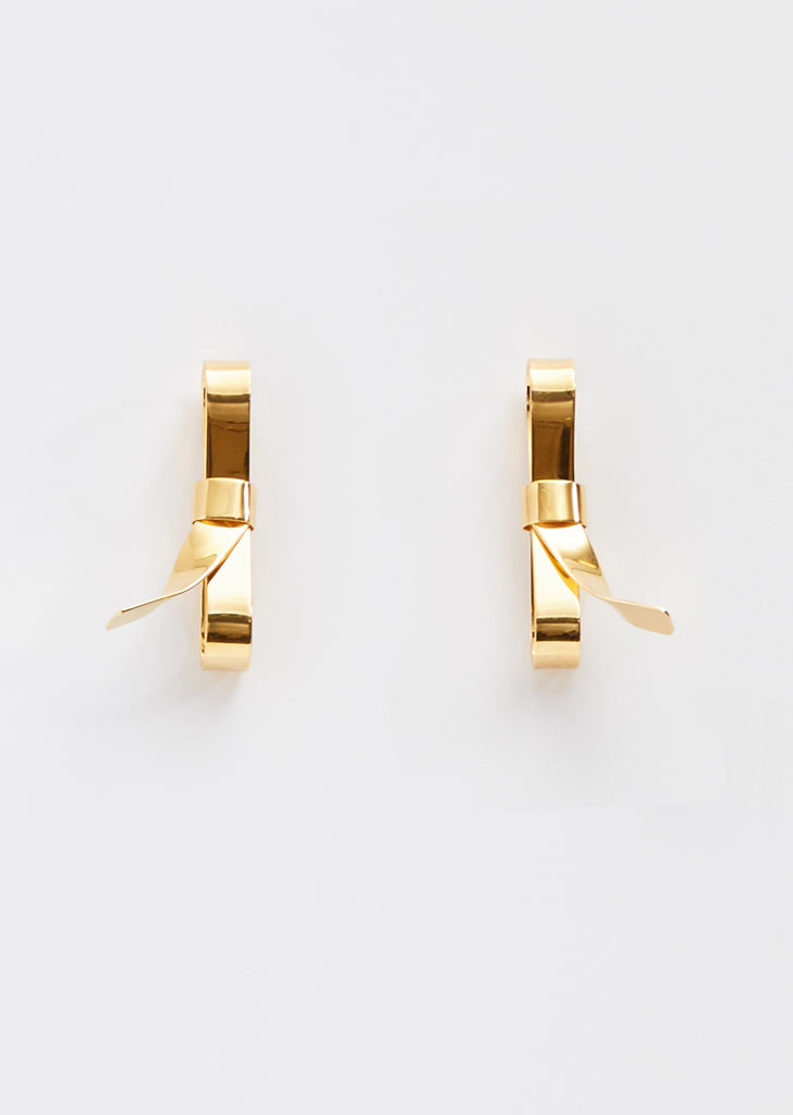 Bow Screw Metal Earrings