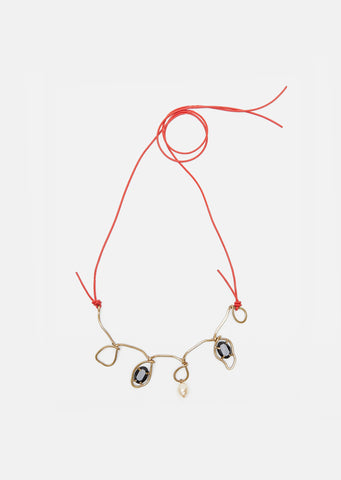 Polished Stone Metal Necklace