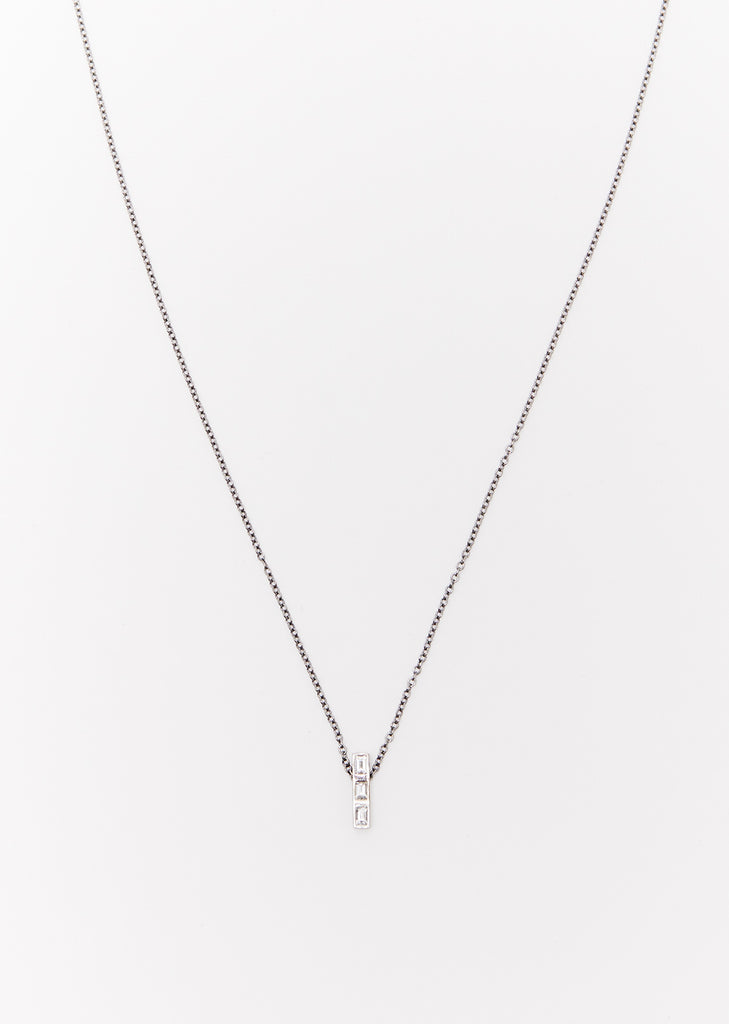 3 Diamonds Thread Baguette Necklace