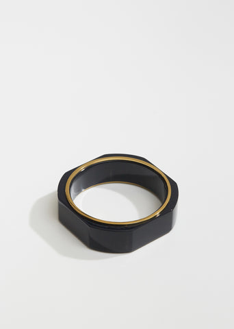 Chunky Geometric Lacquered Wood Bracelet