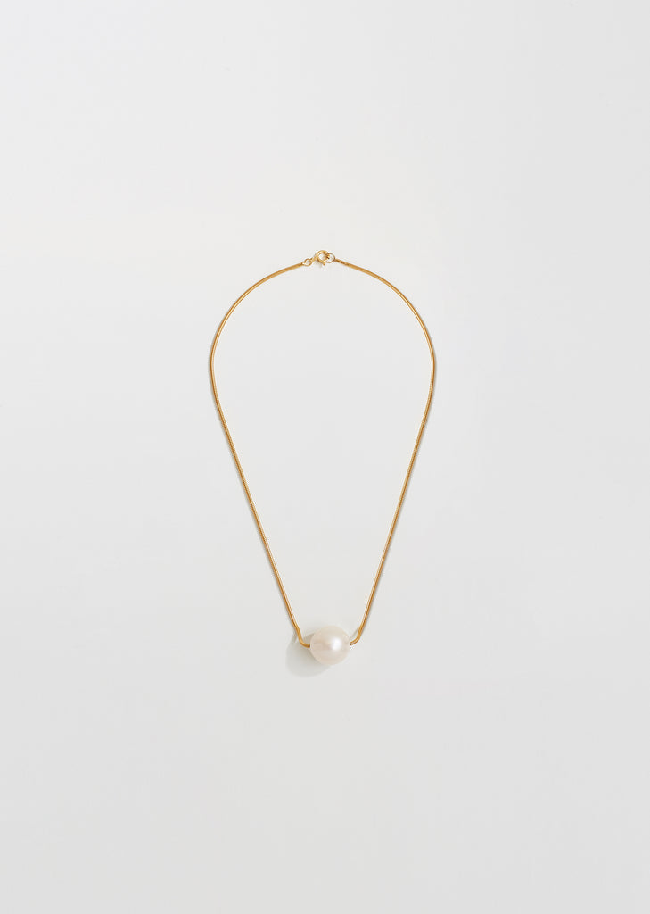 Gold Single Baroque Pearl Collar Necklace