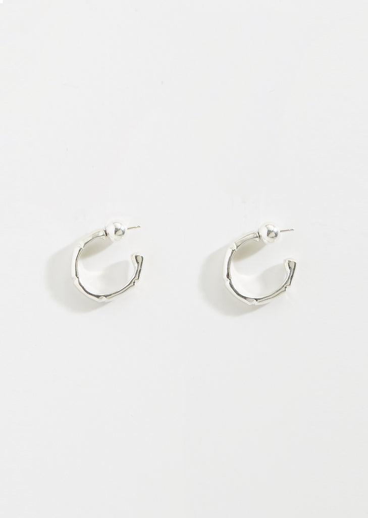 Thin Sterling Silver Bamboo Hoops