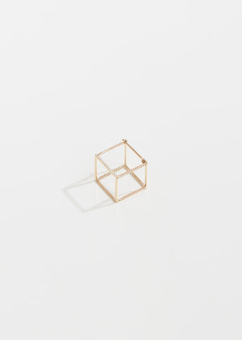 Medium 3D Square Earring with Diamonds
