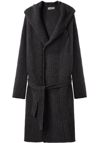 Hooded Knit Coat