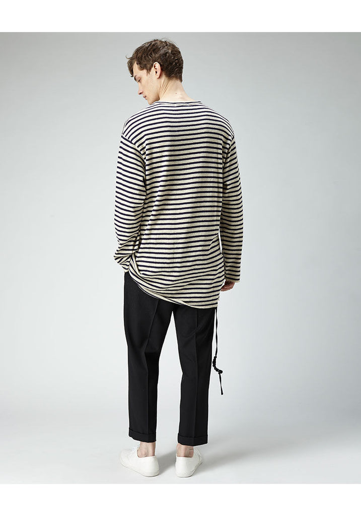 Striped Split Front Henley