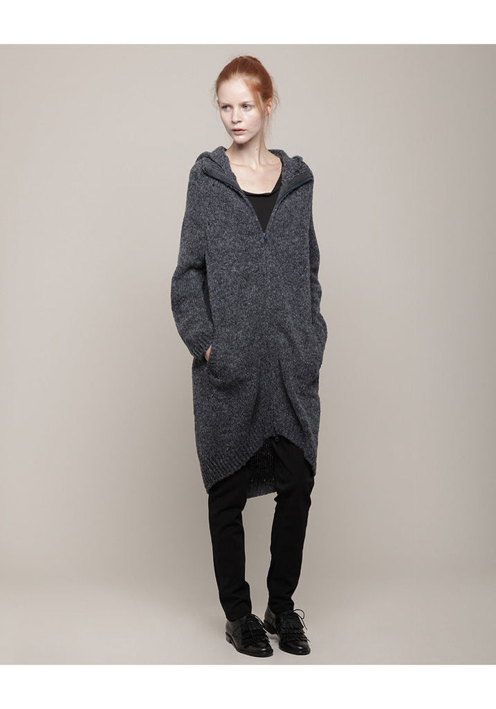 Long Hooded Zip Cardigan