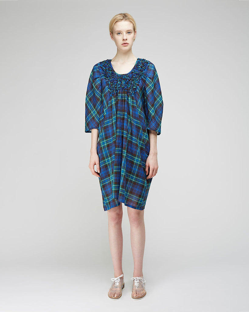 Embroidered Check Dress