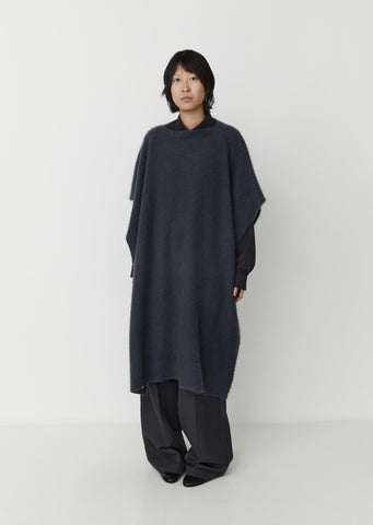 Shaggy Cashmere Cape — Blue