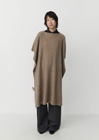 Shaggy Cashmere Cape — Natural