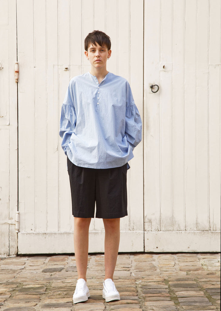 Basil Typewriter Cotton Shirt — Light Blue