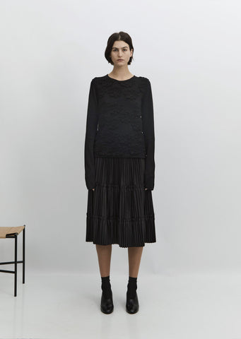 Tier Oxford Pleated Skirt