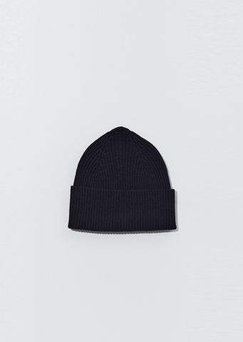 Merino Wool Long Rib Hat — Navy