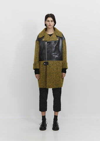Tweed & Synthetic Leather Coat