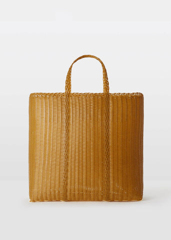 Large Flat Handwoven Tote — Tobacco