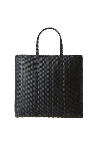 Large Flat Handwoven Tote Bag — Black