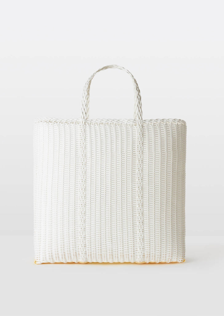 Large Flat Handwoven Tote — White