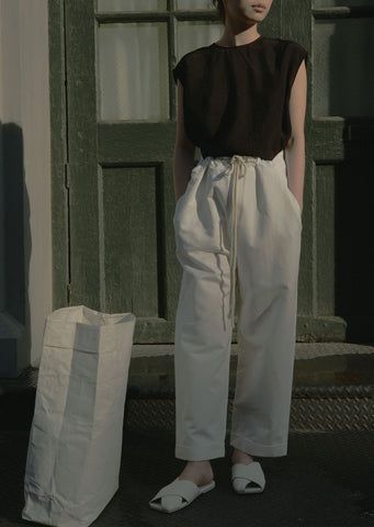 Cotton & Linen Satin Drawstring Pants