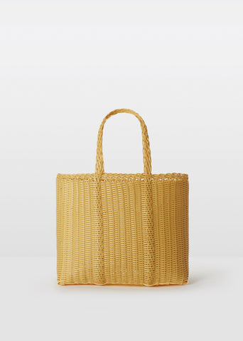 Small Handwoven Flat Tote — Caramel