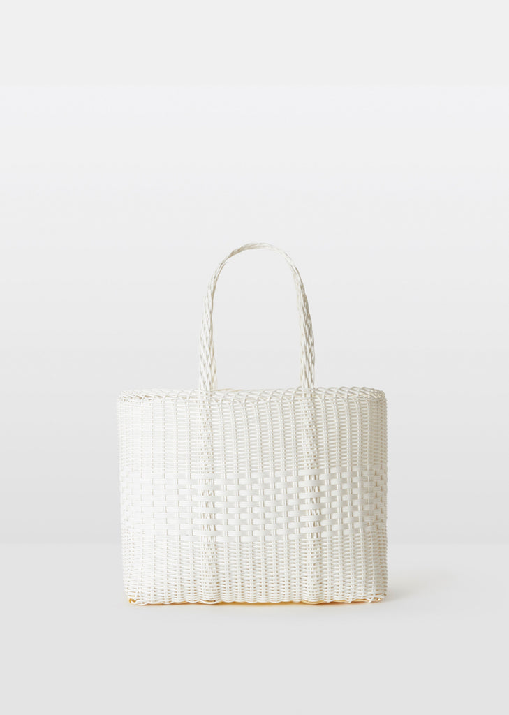 Small Handwoven Lace Tote — White