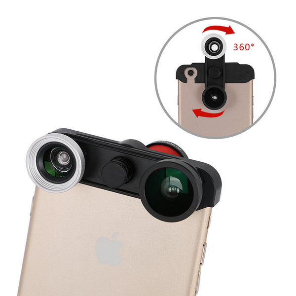 Rotational 4-in-1 Camera Lens Kit for iPhone 6S 6 Plus 5S 5 - Wide Angle + Macro + Fish Eye Optical Photo Lens