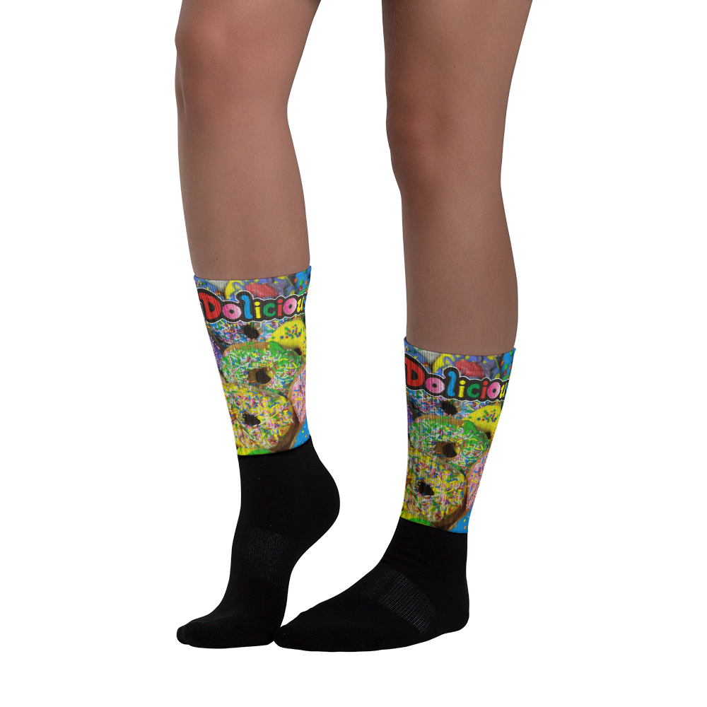 Dolicious Donuts Black foot socks