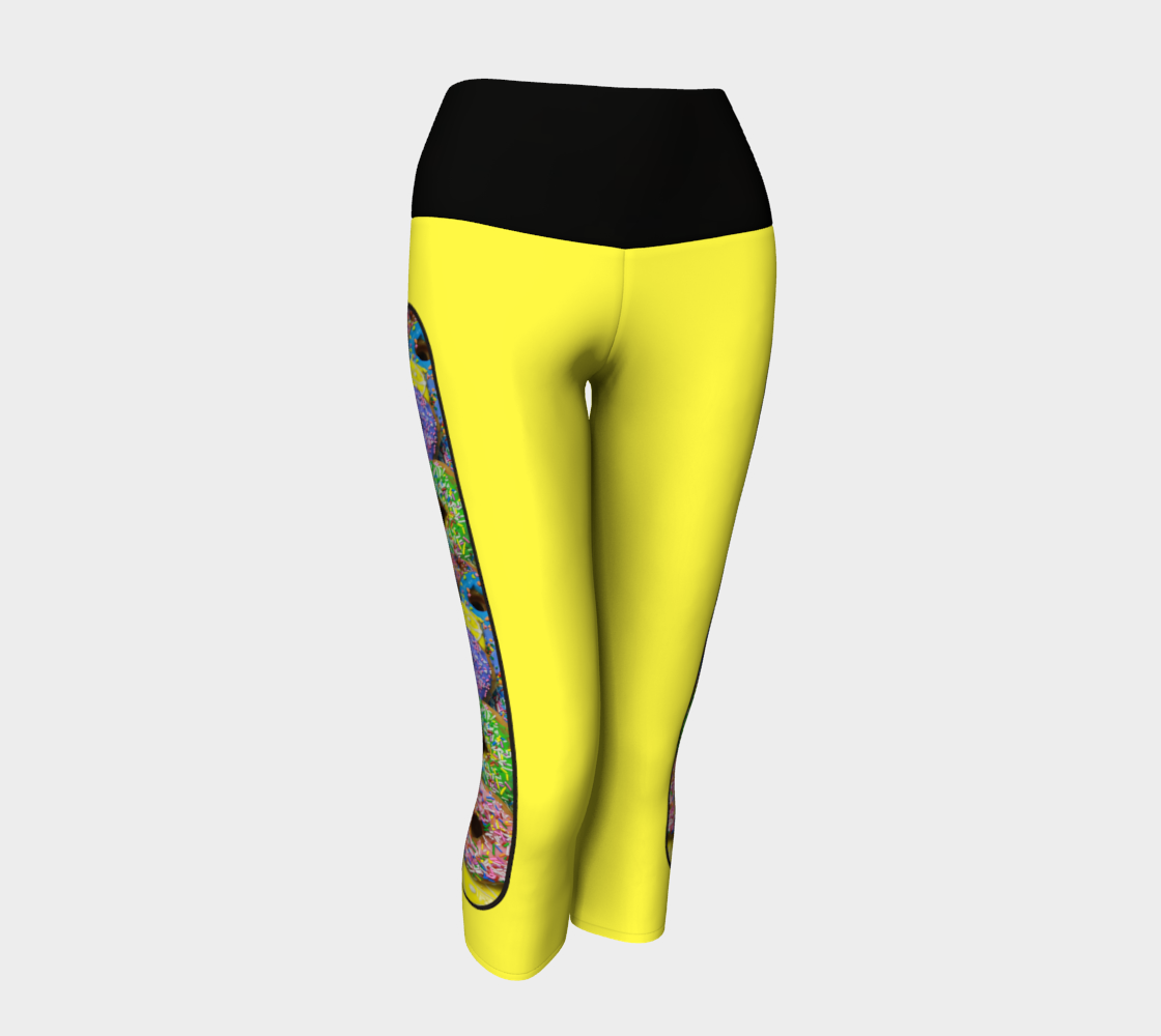 Yellow/Black Yoga Dolicious Donuts Capris