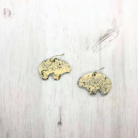 Bear Earrings, Ivory
