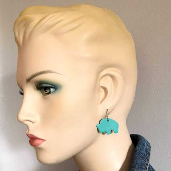 Buffalo Earrings, Slab Turquoise