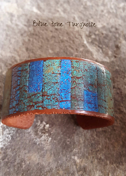 Faux stone Rustic Inlay cuff bracelet