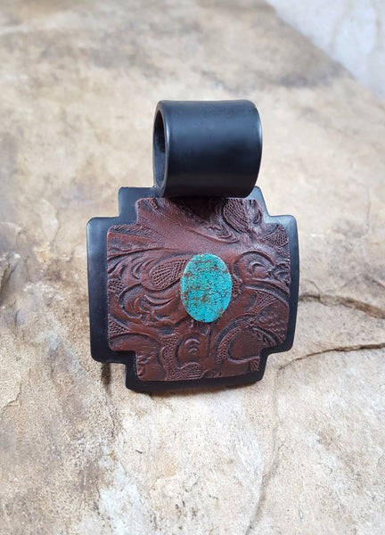 Tooled Pendant with faux turquoise