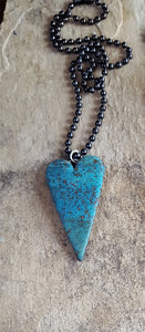 Heart Necklace, Turquoise Faux Stone