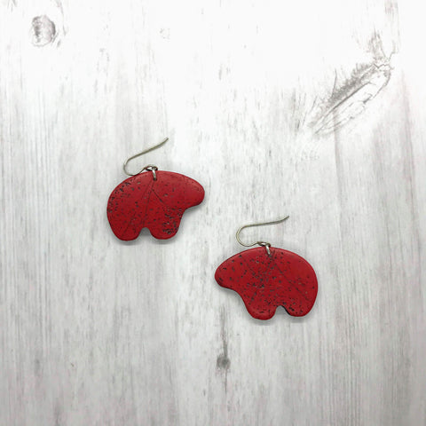 Bear Earrings, Red