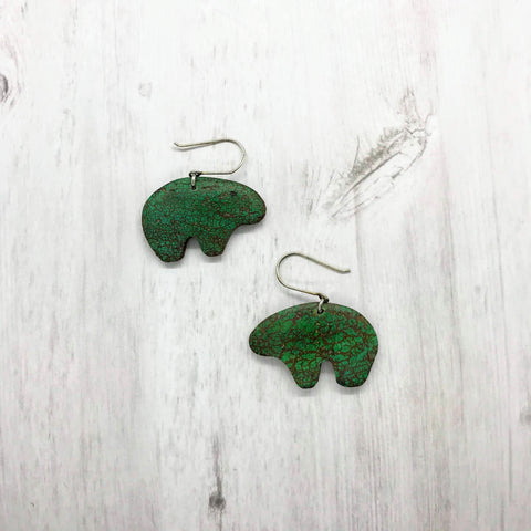 Bear Earrings, Turquoise