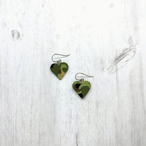 Heart Earrings, Camo