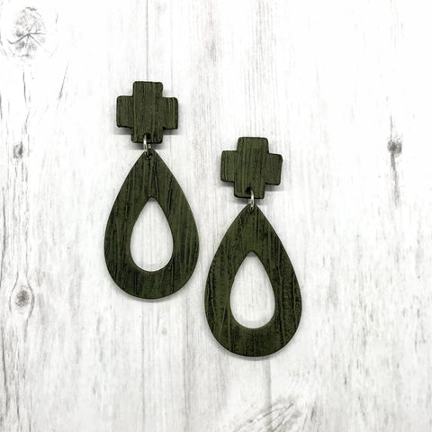 Olive Textured Earrings, Crossroads