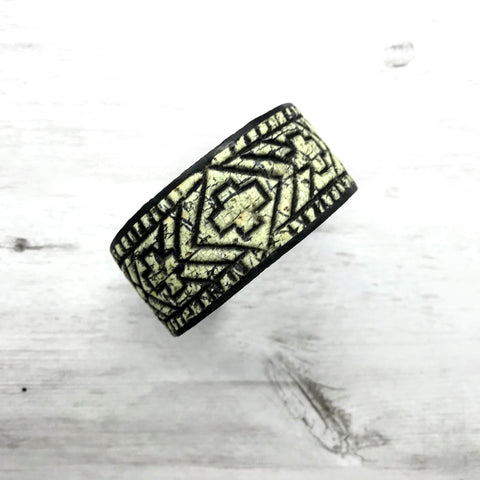Blockprint Cuff, Ivory