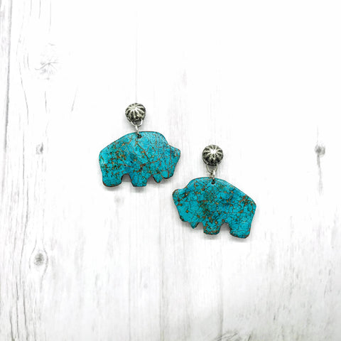 Buffalo Earrings, Faux Stone Turquoise