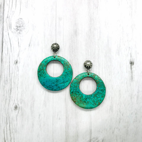 Ennis Earrings, Faux stone Turquoise