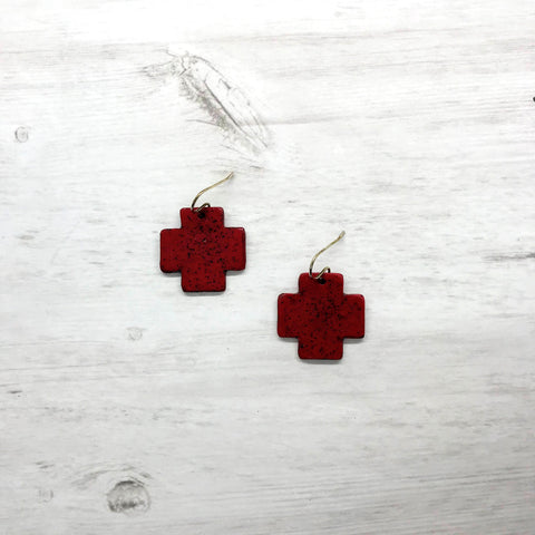 Crossroads Earrings, Red Rustic