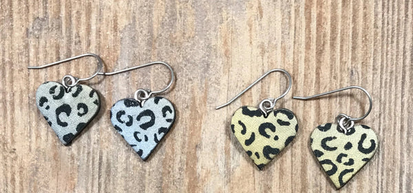 Leopard print Heart Earrings