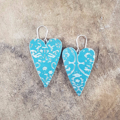 Rustic Turquoise Heart Earrings