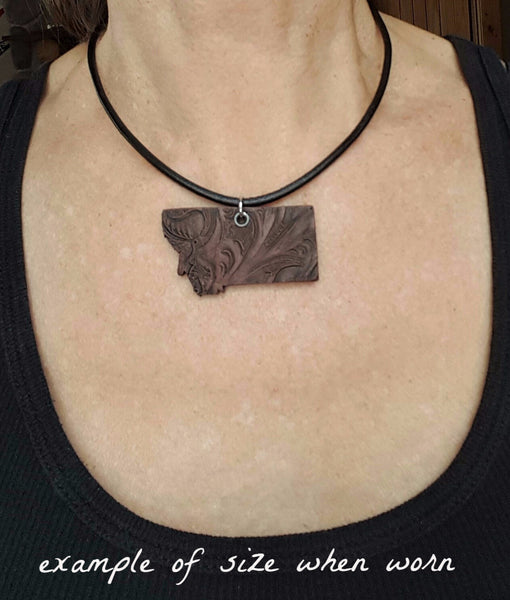 Traditional Tooled Montana Pendant with heart